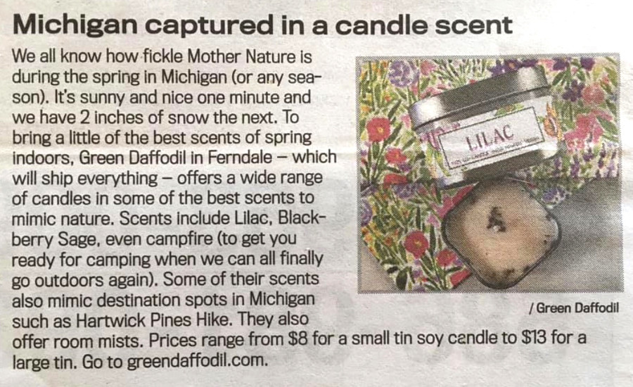 Michigan Captured in a Candle Scent, Detroit News, April 2020.